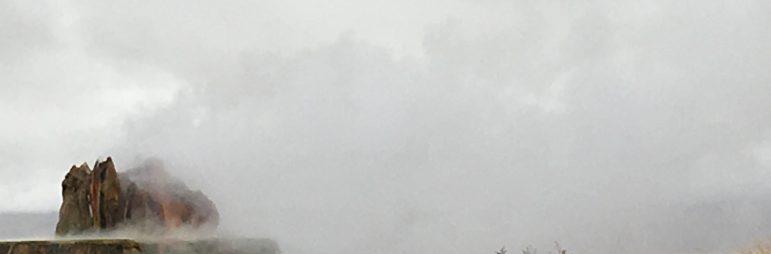 fly geyser with steam